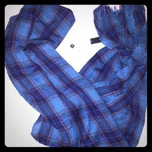Gap blue pink plaid scarf. Size OS. NWT.